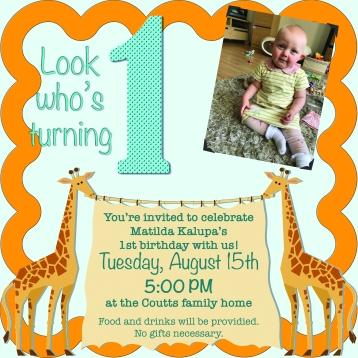 Matilda's Birthday Invite
